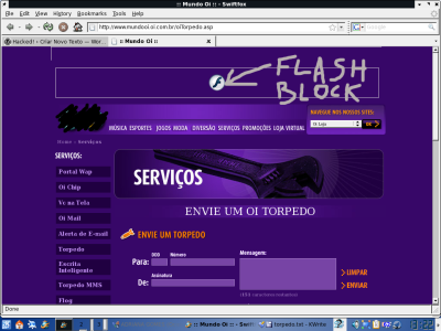 tela do site da oi sem flash